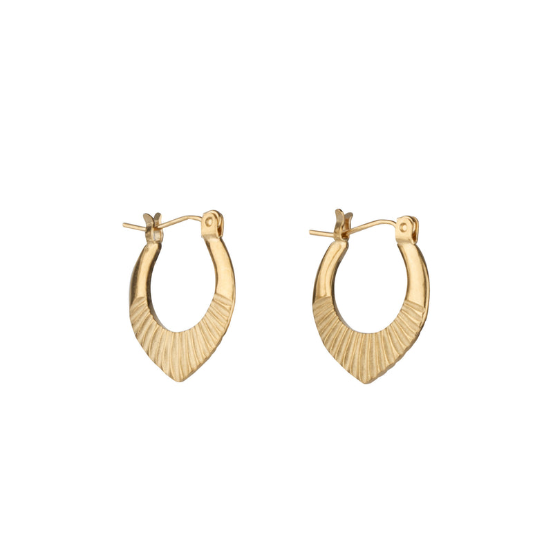 Gold Vermeil Small Oblong hoops with hinge closure and sunburst bottom by Corey Egan