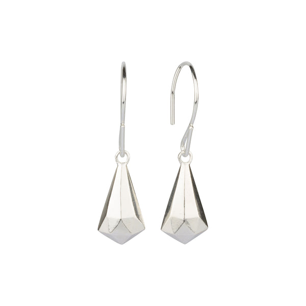 Silver Faceted Drop Dangle Earrings