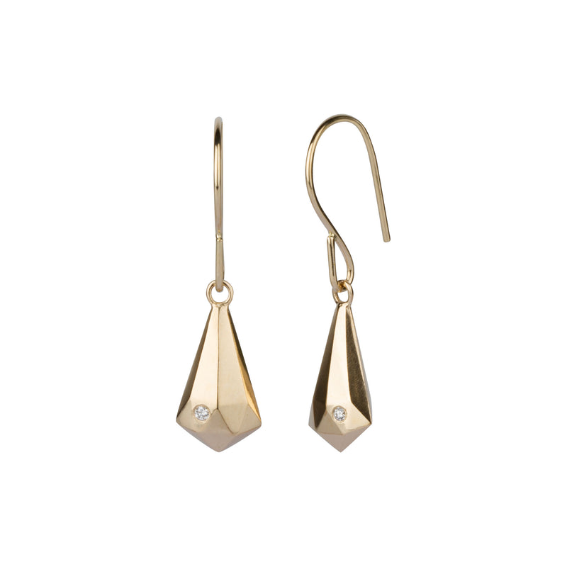 Gold and Diamond Faceted Drop Dangle Earrings