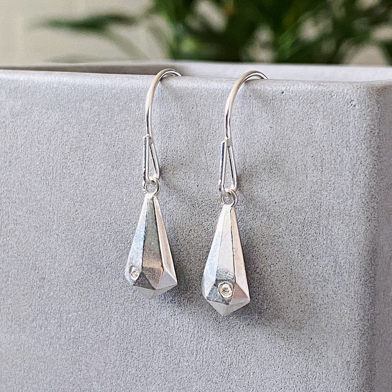 Silver and Diamond Crystal Fragment Dangle Earrings