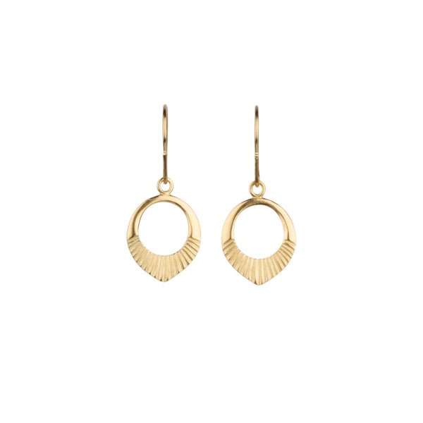 Gold vermeil small open petal shape earrings with sunburst bottoms
