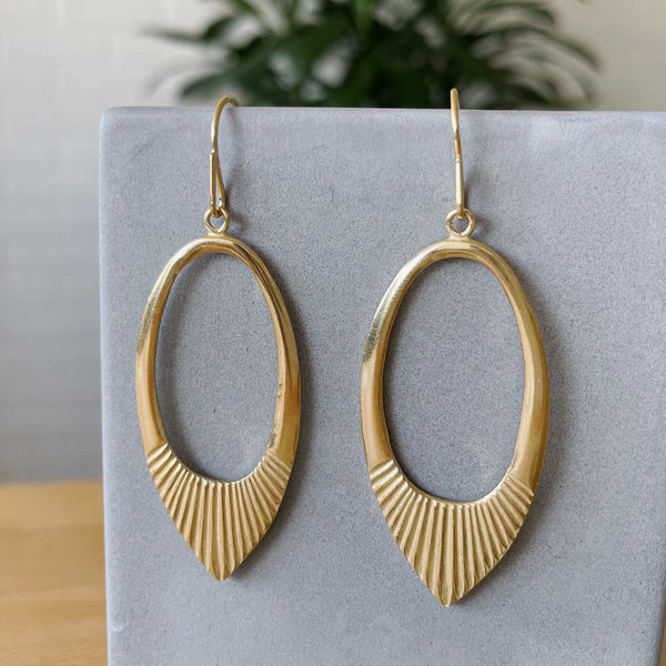 Gold vermeil large open petal shape earrings with textured bottoms