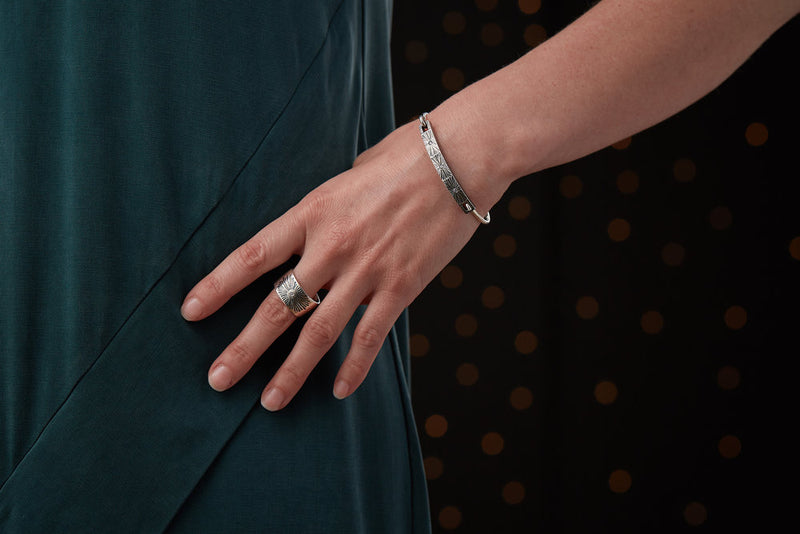 Nova Bracelet and Beacon Band in Oxidized Silver and Diamond by Corey Egan