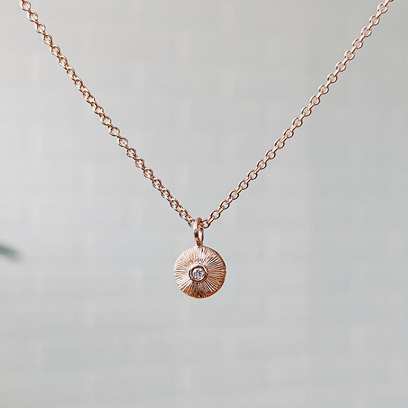 Rose Gold and Diamond Nimbus Necklace by Corey Egan
