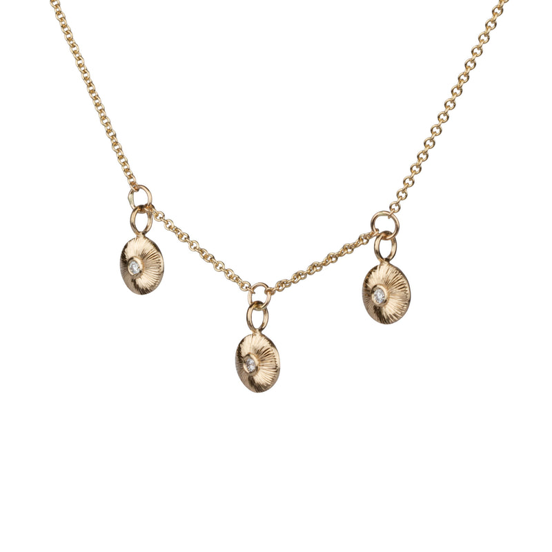 Gold and Diamond Nimbus Trio Necklace by Corey Egan
