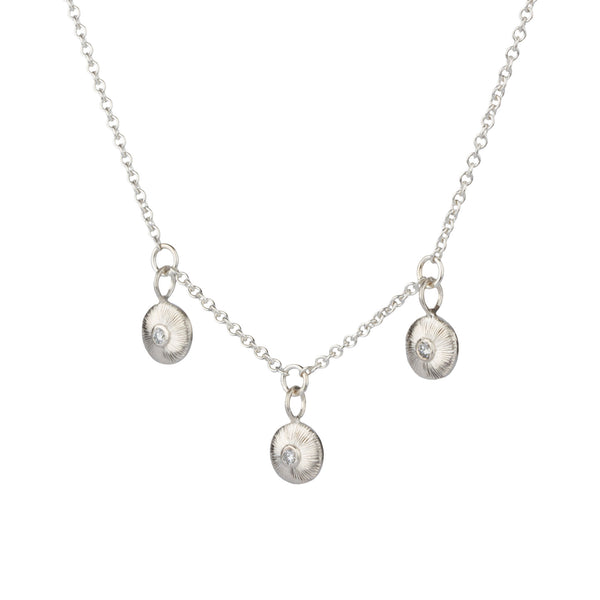 Silver and Diamond Nimbus Trio Necklace by Corey Egan