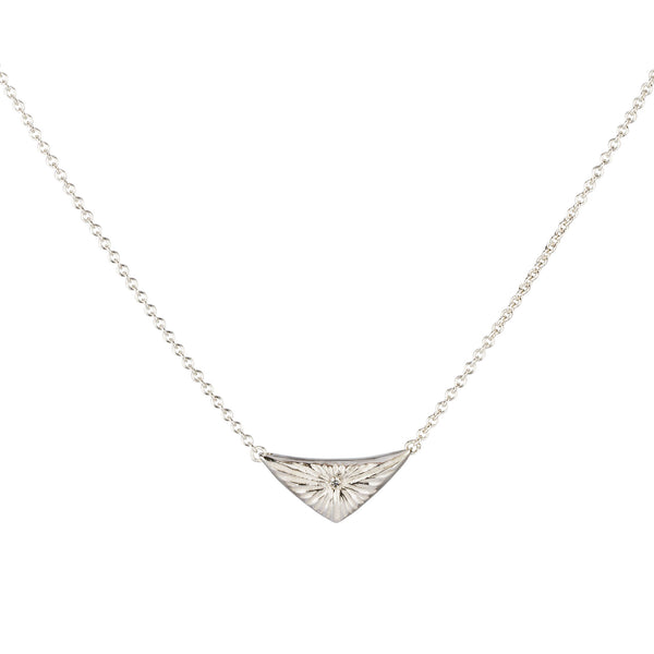 Triangle silver sunburst necklace with diamond center