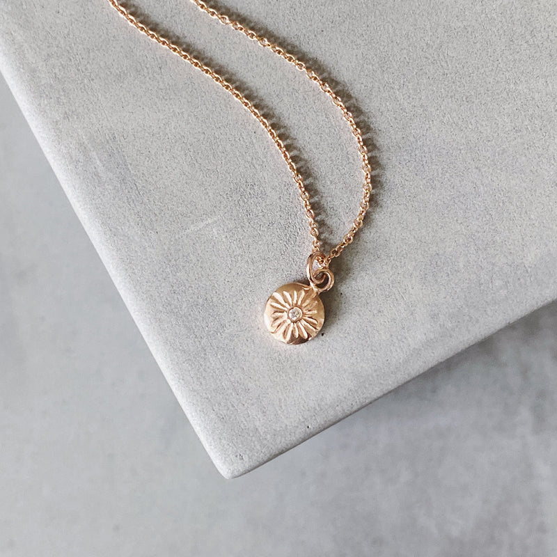 Rose Gold Sunburst Lucia Necklace with Diamond by Corey Egan