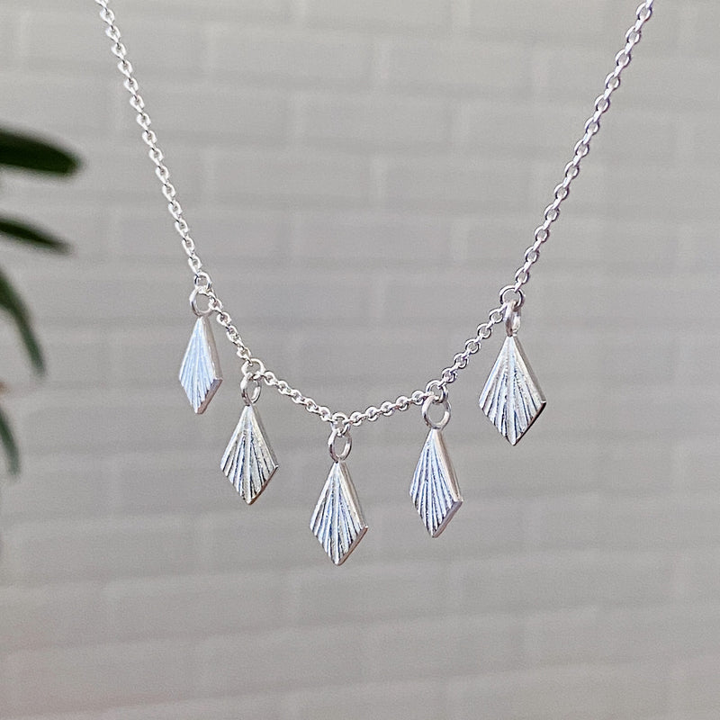 Flame Fan Silver Necklace