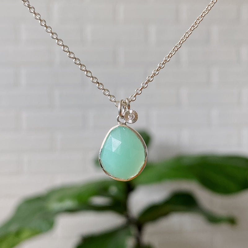 Chrysoprase Silver Rise Cluster Necklace #1