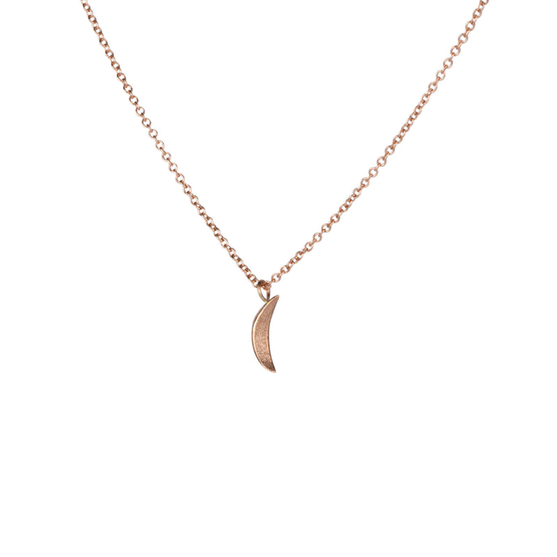 Rose Gold Micro Wisp Moon Necklace by Corey Egan