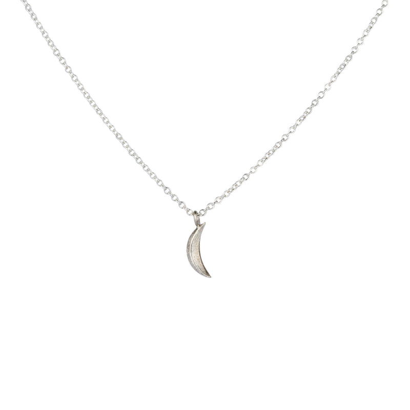 Silver Micro Wisp Moon Necklace by Corey Egan