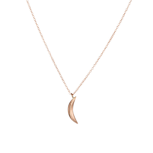 Rose Gold Small Wisp Moon Necklace by Corey Egan