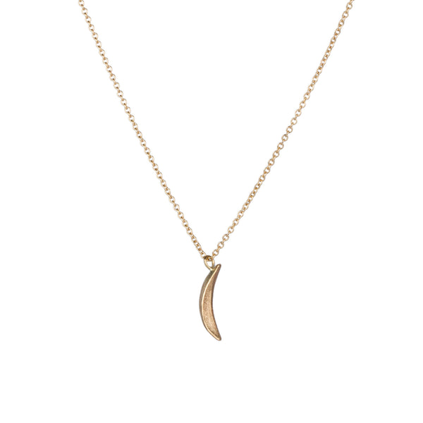 Yellow Gold Small Wisp Moon Necklace by Corey Egan