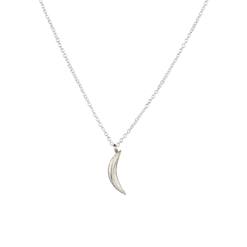 Silver Small Wisp Moon Necklace by Corey Egan