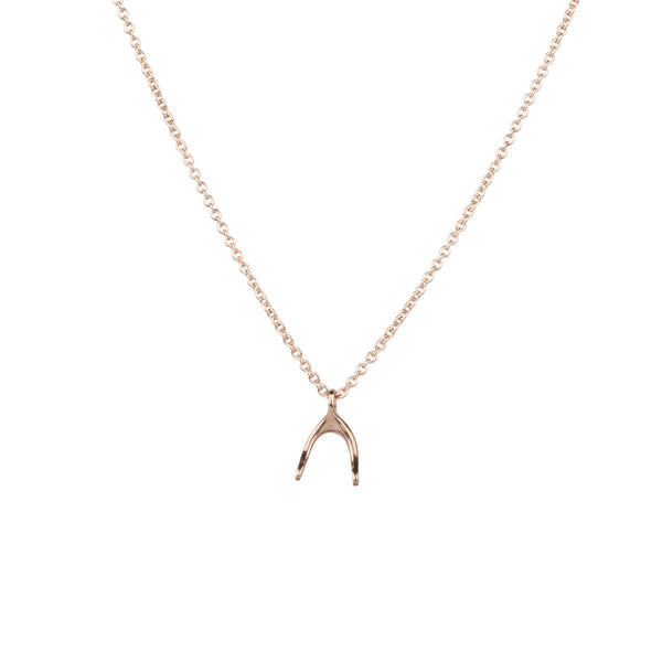 Rose Gold WIshbone Necklace by Corey Egan