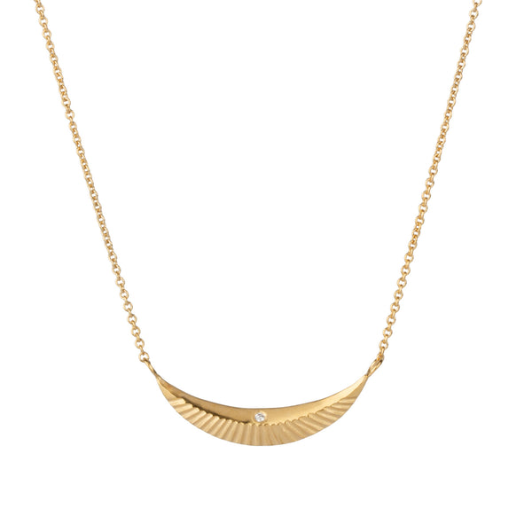 Icarus vermeil crescent necklace with single diamond