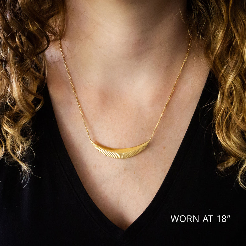 Large Vermeil Icarus Crescent Necklace by Corey Egan