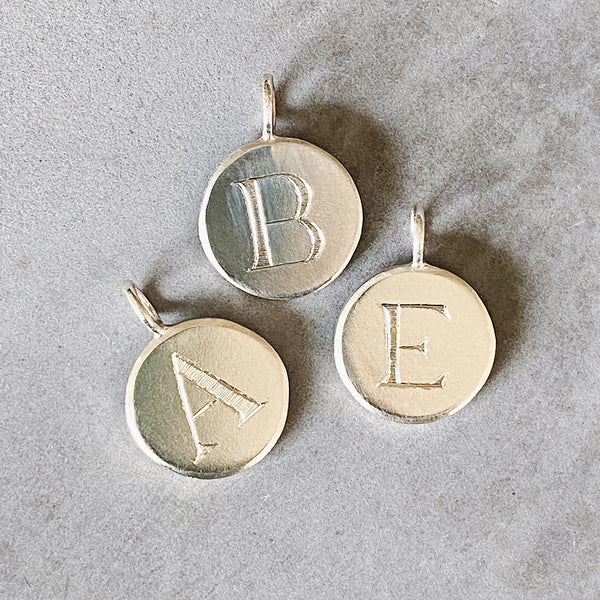 Initial Pendant with Engraved Block Letter