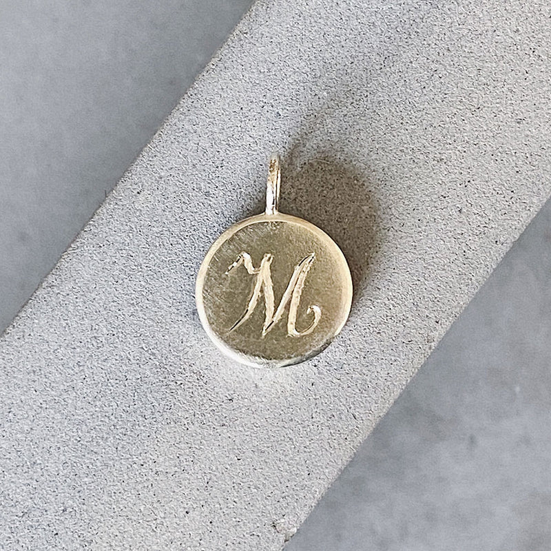 Initial Pendant with Engraved Script Letter