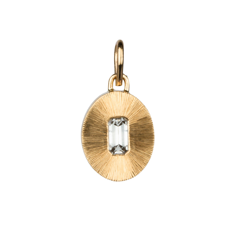 Emerald Cut Diamond Large Aurora Pendant in 14k Yellow Gold by Corey Egan