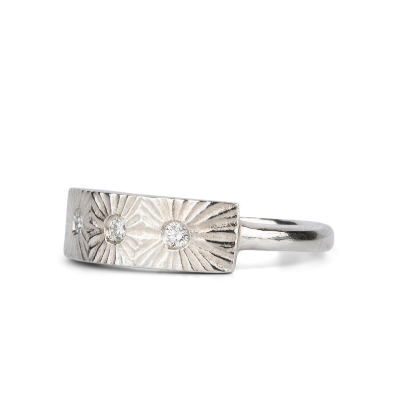 Nova Silver and Diamond Ring by Corey Egan