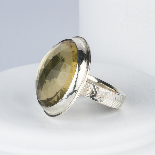 Rose Cut Lemon Quartz Statement Ring