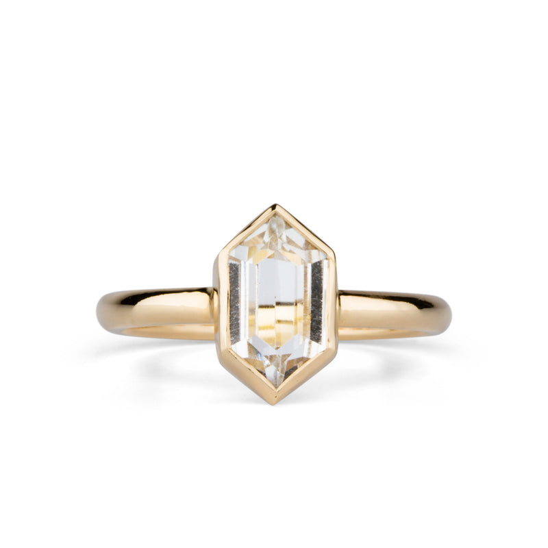 Hexagon White Topaz Sutro Ring by Corey Egan