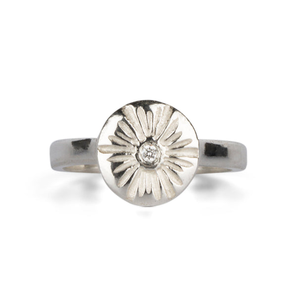 Medium Silver and Diamond Corona Ring by Corey Egan