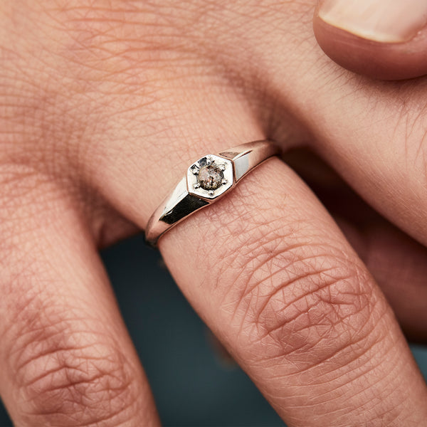 Astra Silver Ring with Salt and Pepper Diamond by Corey Egan