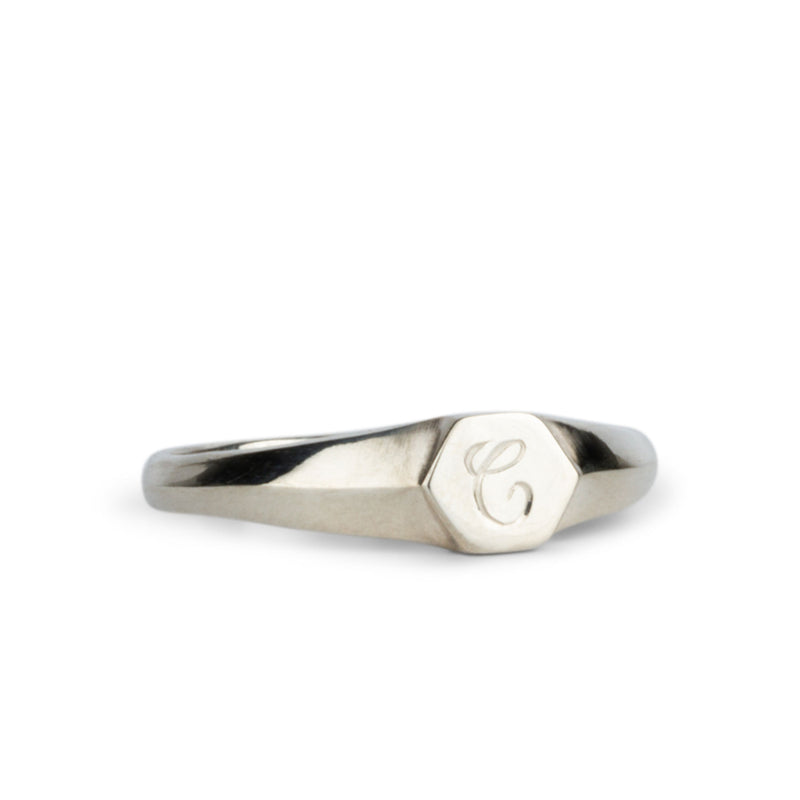 "Low profile sterling silver signet ring with hexagon top and engraved single script ""C"" initial"