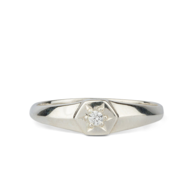 Silver and Diamond Star Astra Signet Ring by Corey Egan