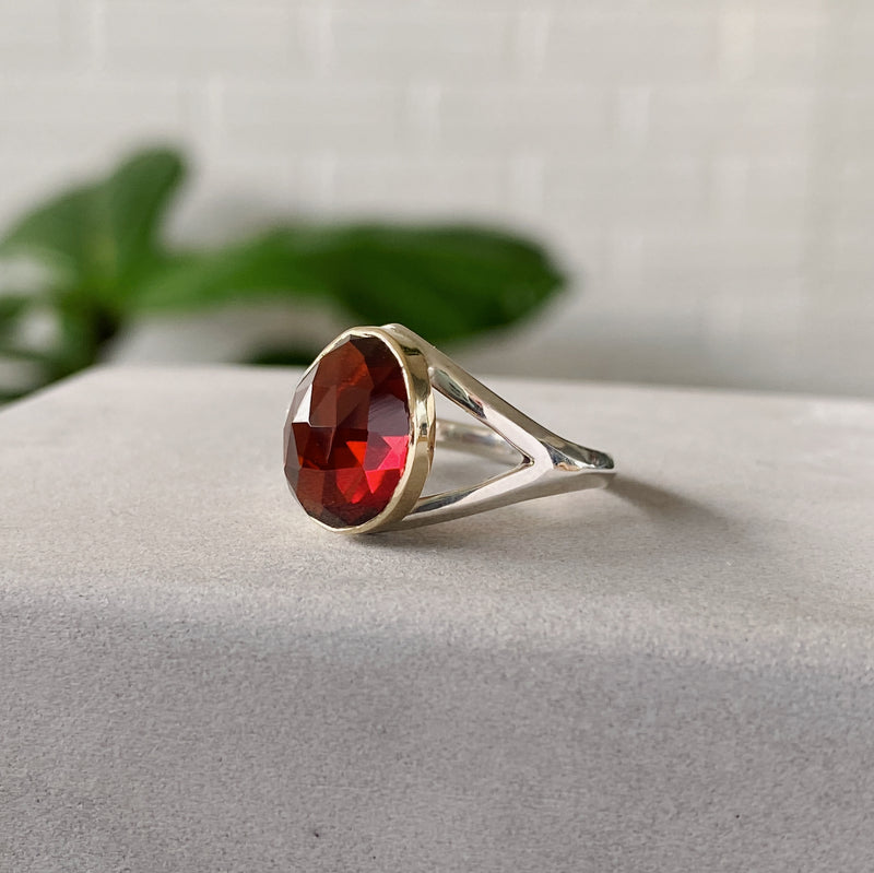 Mozambique Garnet Silver and Gold Cleo Ring