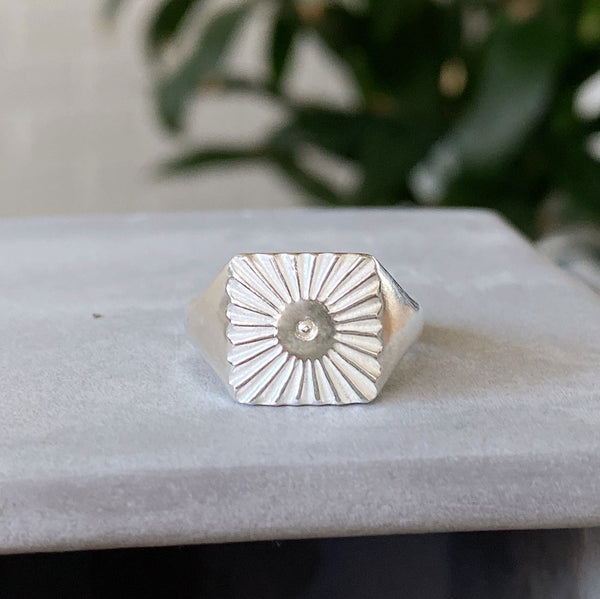 silver square sunburst signet ring