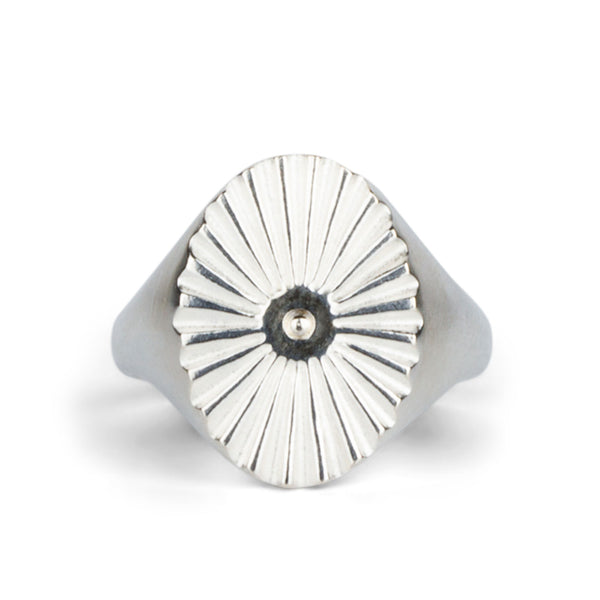 silver oval sunburst signet ring