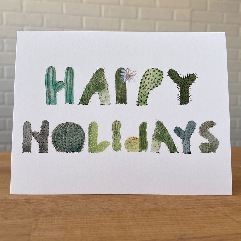 Watercolor Card with Happy Birthday spelled in Letters shaped like cacti.