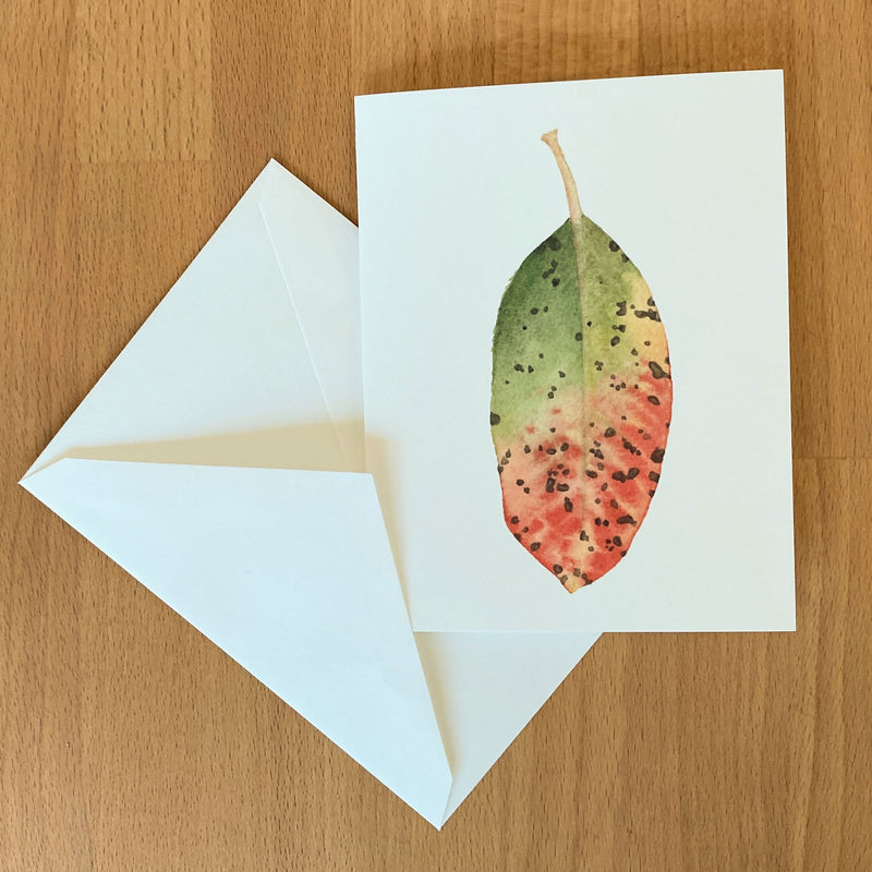 Watercolor Card of Multicolor madrone leaf