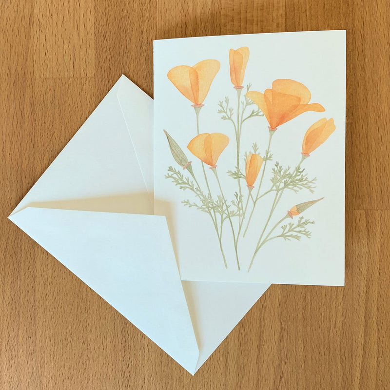 Watercolor Card with California Poppies