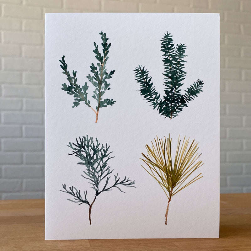 Watercolor Card of four pine tree sprigs