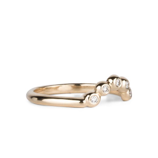Medium Arched Droplet Band Yellow Gold with White Diamonds by Corey Egan