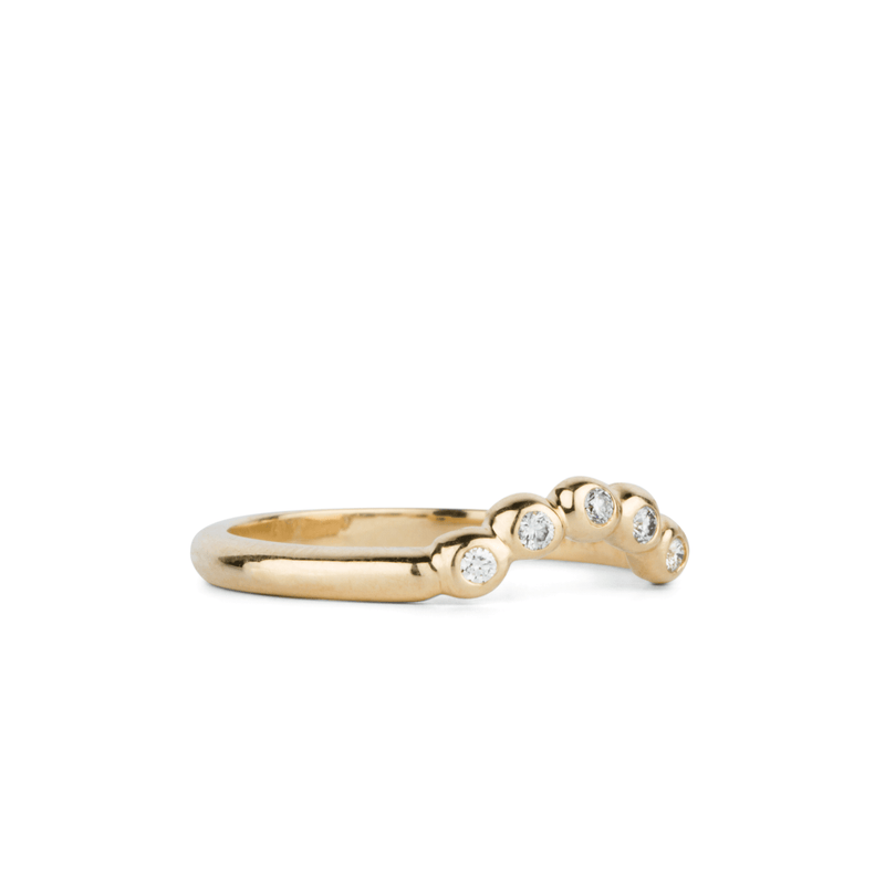 Arched Droplet Band in Yellow Gold with White Diamonds by Corey Egan