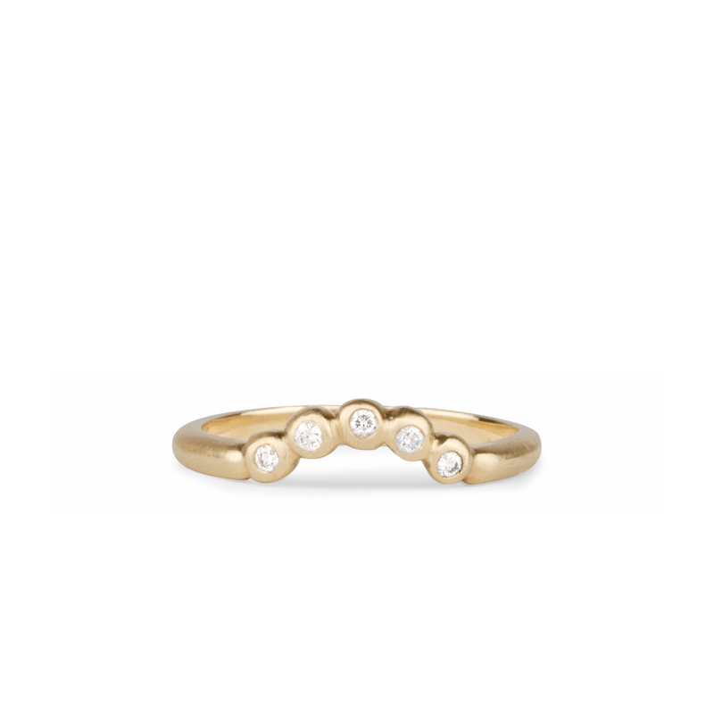 Arched Droplet Band in Brushed Yellow Gold with White Diamonds by Corey Egan