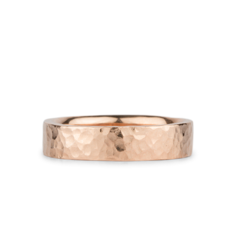 Blue Ridge Rose Gold Hammered Flat Band by Corey Egan