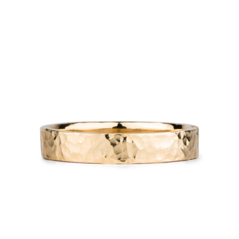 Blue Ridge Yellow Gold Hammered Flat Band 4mm wide by Corey Egan