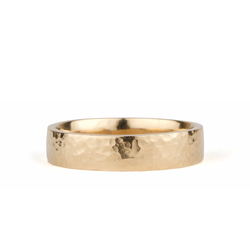 Blue Ridge Yellow Gold Hammered Flat Band 5mm wide by Corey Egan