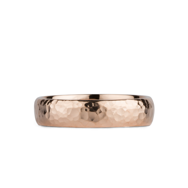 Blue Ridge Rose Gold Hammered Half Round band by Corey Egan