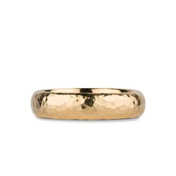 Blue Ridge Yellow Gold Hammered Half Round band by Corey Egan