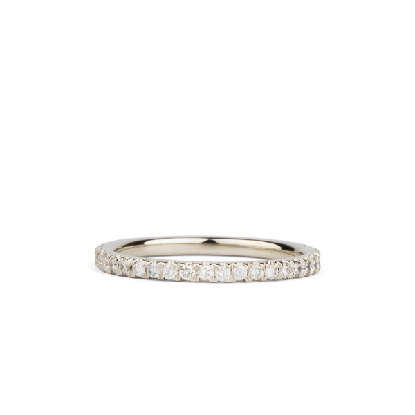 Bryce White Diamond Prong Set Half Eternity Band in White Gold |Corey Egan
