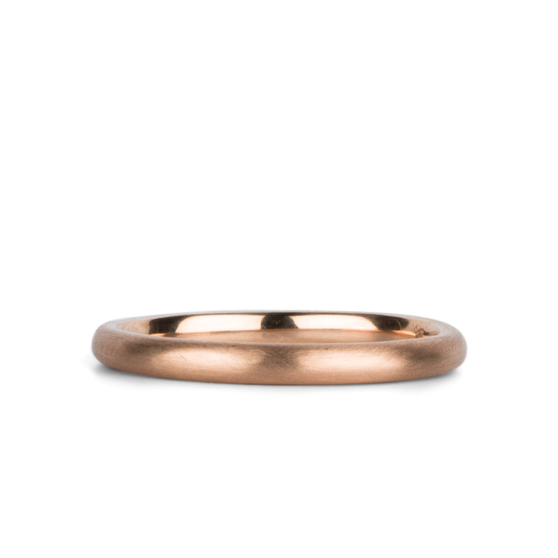 14k rose gold half round Diablo Band by Corey Egan