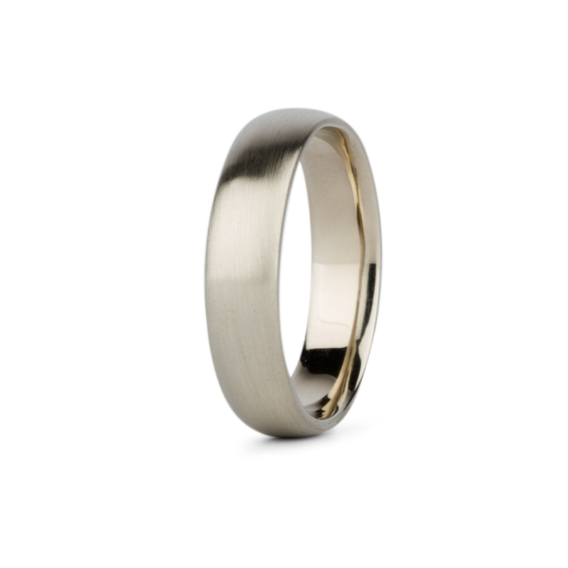 White Gold Diablo Half Round Brushed Band 5mm wide by Corey Egan